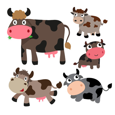 cow character vector design, cow vector collection design