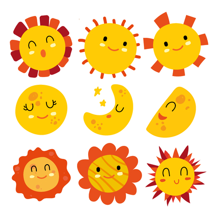 sun and moon vector collection design, sun character vector design