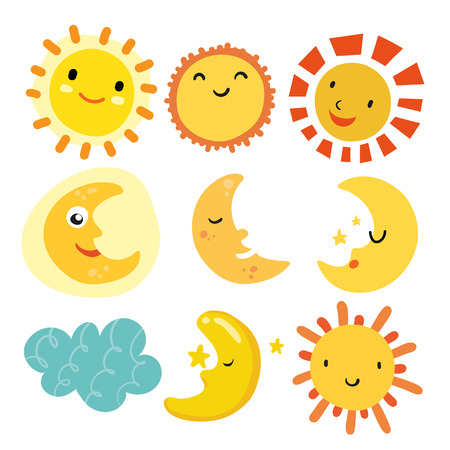 diseño de colección de vector de sol y luna, diseño de vector de personaje meteorológico