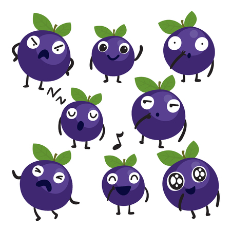 blueberry character vector design, fruit vector collection design