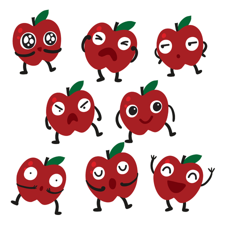 apple character vector design, fruit vector collection design Illustration