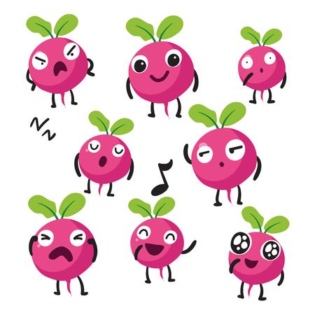 radish character vector design, radish vector collection design Ilustrace