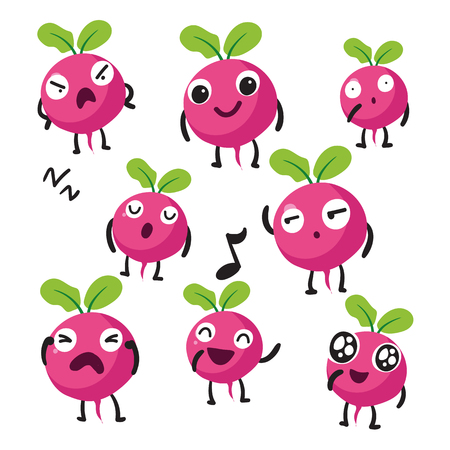 radish character vector design, radish vector collection design Illustration