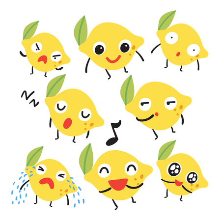 lemon character vector design, fruit vector collection design Illustration