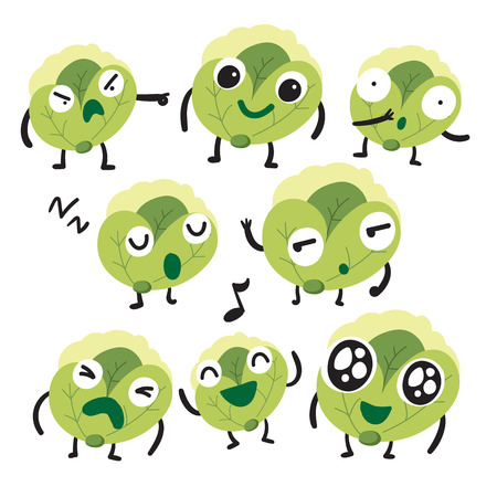 cabbage character vector design, food vector collection design