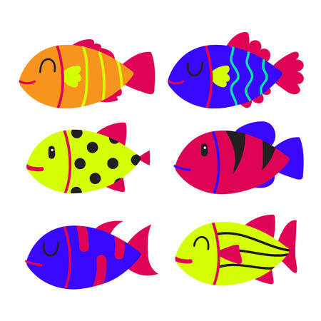 fish character collection design