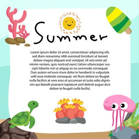 summer background vector design, sea card vector design
