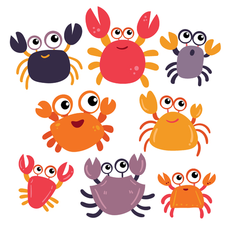 crab character vector design, crab vector collection design