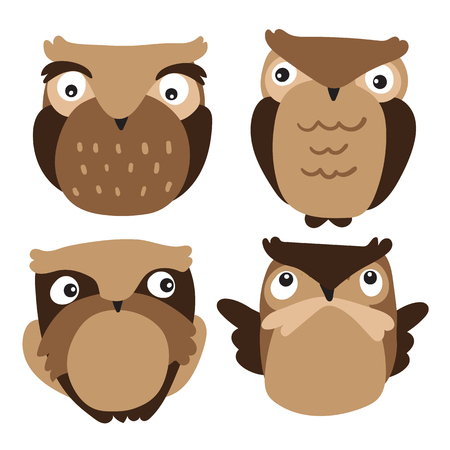 owls character vector design, owls vector collection design 向量圖像