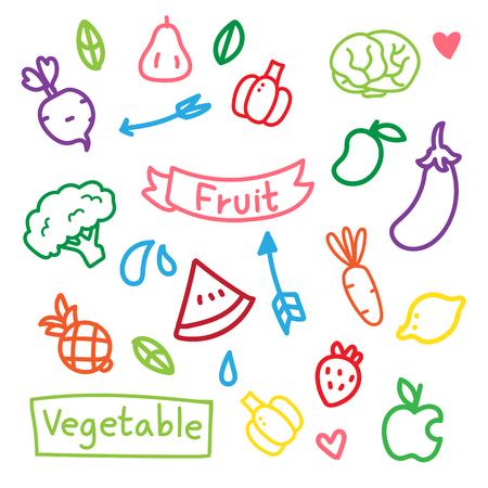 fruit vector collection design, vegetable vector collection design Vetores