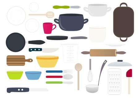 peeler: Kitchen dishes vector illustration Illustration
