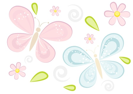 Butterflies and flowers vector illustration