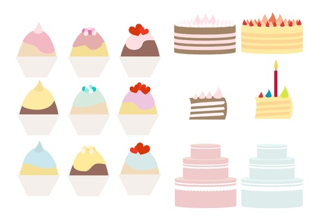 Cakes and muffins vector illustration set Illustration