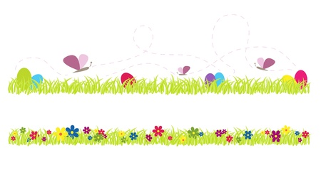 Grass with butterflies and flowers vector illustration Illustration