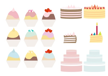 Cakes and cupcakes pastel collection