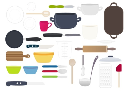 utensilios de cocina: Colección colorida de platos de cocina Vectores