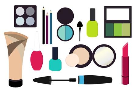 cream tube: Various cosmetics set Illustration