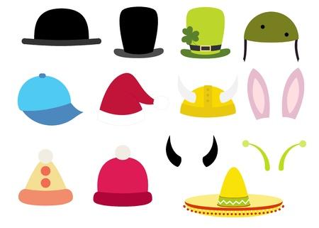 실린더: 다채로운 다양 한 재미 모자 세트 일러스트