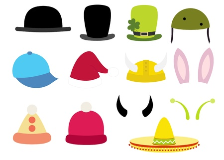 colorful various funny hats set Vector