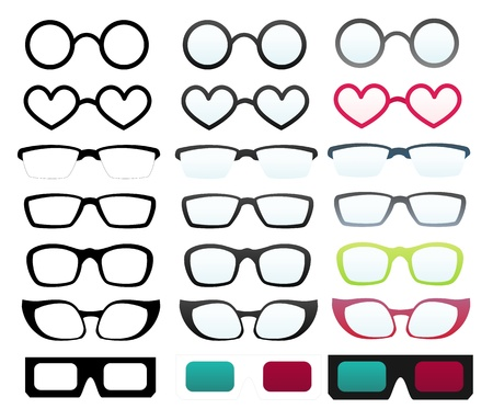 cartoon eyes: Set of vector illustrated glasses with various shape