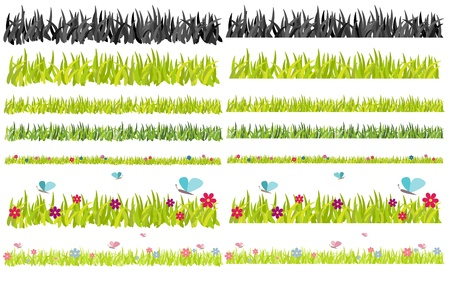 Collection of various grass frames Vector