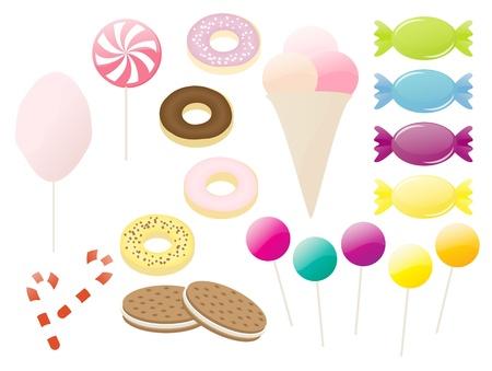algodon de azucar: Conjunto de dulces de colores aislados y dulces Vectores