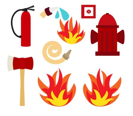Fire safety vector illustration set Illustration