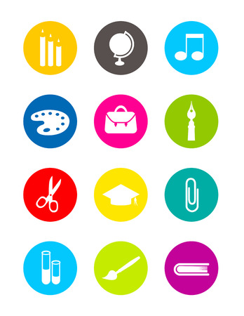 Colorful school simple icons