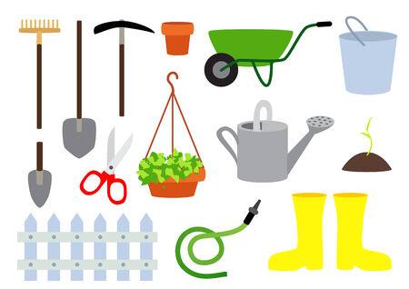Set of vector gardening equipment