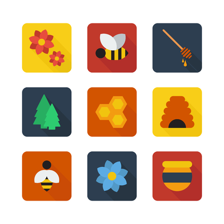 Honey and bees flat icons
