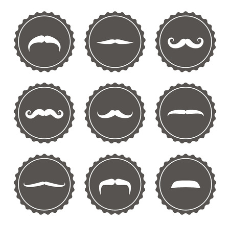 whisker characters: Etiquetas retro del bigote Vectores