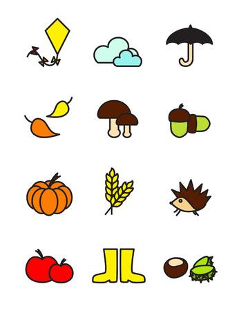 Autumn colorful symbols