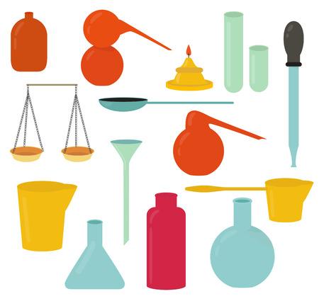 Alchemy equipment vector set