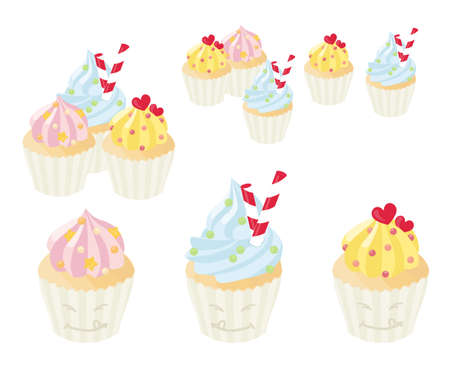 Cute cupcakes with pastel frosting