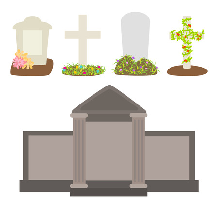 Graves and tombstones vector Illustration