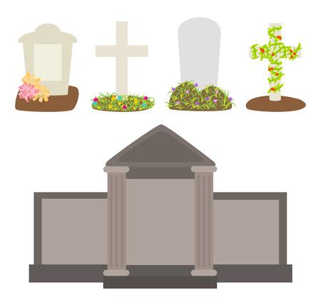 tombes: Graves et des pierres tombales vecteur Illustration