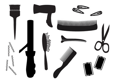 Black hair salon equipment silhouettes Vector