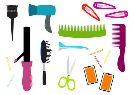 Hairdresser equipment vector set