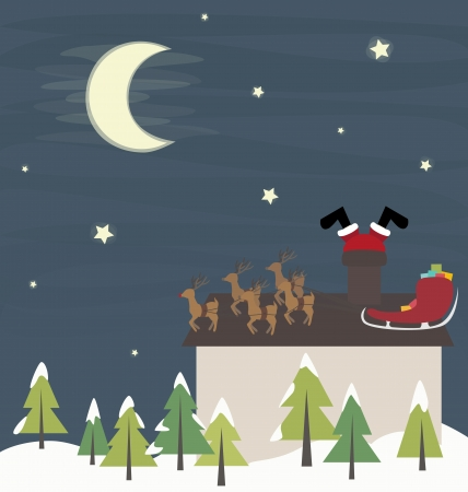 Santa Claus in trouble funny vector illustration