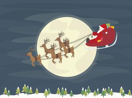 Flying santa claus with reindeers