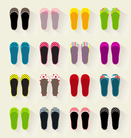 Ballerina shoes flat set colorful Illustration