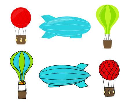 Airship and balloon set