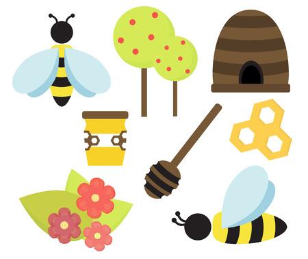 Simple bee honey set illustration isolated