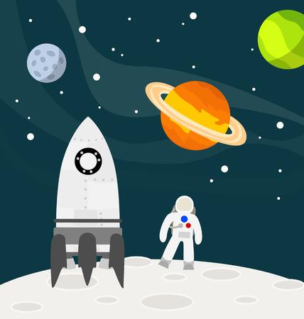 luna caricatura: Astronauta en la luna con cohete