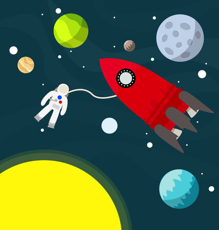 Astronaut in the space with rocket illustration vector Illustration