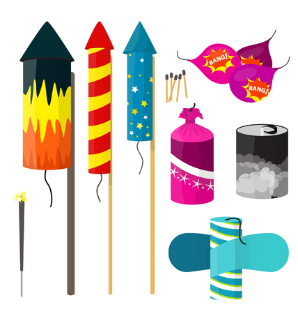 barrage: Fireworks rockets isolated vector