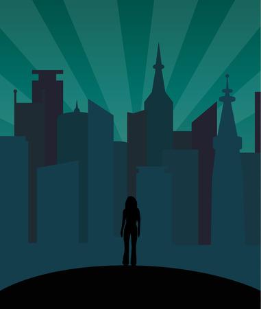 Girl alone in the city dark silhouette