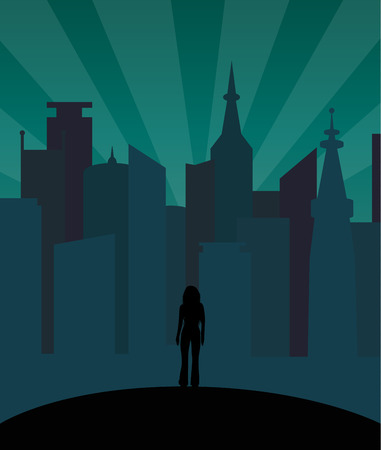 alone in the dark: Girl alone in the city dark silhouette