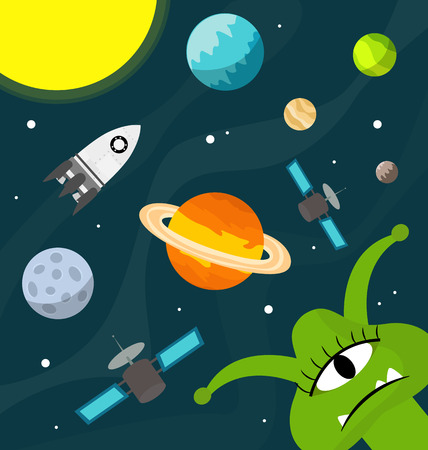 Cute funny ufo in the universe with planets Vector