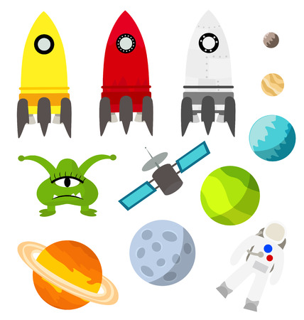 Space isolated things planets rockets astronaut